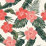 Flowers hibiscus abstract color tropical leaves seamless. Vector beach pattern wallpaper light background Stock Image