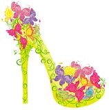Flowers high heel. Vector illustration. Shoes on a high heel decorated with flowers and butterflies Royalty Free Stock Images