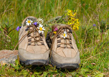 Flowers in hiking boots Royalty Free Stock Photography