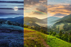 Flowers on hillside meadow with forest in mountain. Day and night composite mountain landscape. flowers on hillside meadow near village in foggy mountain  forest Stock Image