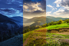 Flowers on hillside meadow with forest in mountain. Day and night composite mountain landscape. flowers on hillside meadow near village in foggy mountain  forest Royalty Free Stock Photography