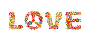 Flowers hippie print. Love letter Royalty Free Stock Images