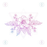 Flowers in hipster triangles, boho color line art tattoo.. Bohemian vector illustration, mystical symbol of beauty, tattoo design, sketch isolated on white for Stock Images