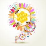 Flowers with honeycombs Royalty Free Stock Photography