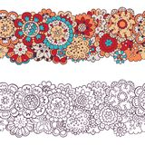 Flowers. Horizontal seamless pattern in doodle and cartoon style. Colorful and contour. royalty free illustration