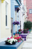 Flowers on house stoops Royalty Free Stock Images