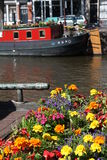 Flowers and houseboot in Amsterdam. Flowers and red houseboat in Amsterdam near the Houseboat Museum Royalty Free Stock Image