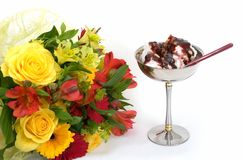 Flowers and ice-cream. Isolated on white background Royalty Free Stock Photos