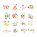 Flowers Icon Set in Trendy Flat Style Stock Image