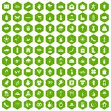 100 flowers icons hexagon green. 100 flowers icons set in green hexagon isolated vector illustration Stock Image