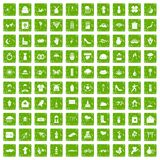 100 flowers icons set grunge green. 100 flowers icons set in grunge style green color isolated on white background vector illustration Royalty Free Stock Photography