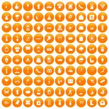 100 flowers icons set orange. 100 flowers icons set in orange circle isolated on white vector illustration royalty free illustration