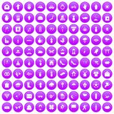 100 flowers icons set purple. 100 flowers icons set in purple circle isolated on white vector illustration stock illustration