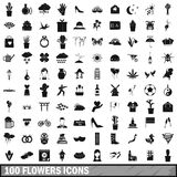 100 flowers icons set, simple style. 100 flowers icons set in simple style for any design vector illustration royalty free illustration