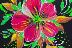 Flowers illustration on a black background. Oil Painting, Impressionism style, flower painting, canvas,. Artist royalty free illustration