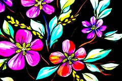 Flowers illustration on a black background. Oil Painting, Impressionism style, flower painting, canvas, stock photos