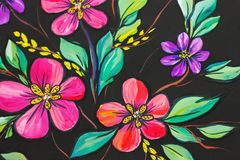 Flowers illustration on a black background. Oil Painting, Impressionism style, flower painting, canvas, royalty free stock photo