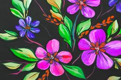 Flowers illustration on a black background. Oil Painting, Impressionism style, flower painting, canvas, royalty free stock photography