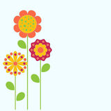 Flowers Illustration, Flower Card. Flower card illustrations on green background, spring flowers illustration, blooming flowers, orange flower, yellow flower Royalty Free Stock Photography