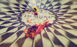 Flowers on Imagine Mosaic in NYC Central Park Stock Image