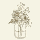 Flowers In Mason Jar Royalty Free Stock Images