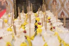 Flowers, incense Buddha stock photography