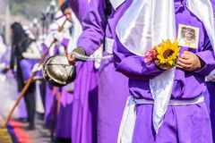 Flowers & incense burner in Good Friday procession, Antigua, Guatemala royalty free stock photography