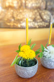 Flowers, incense and candles set for Buddhist worship Buddha. Royalty Free Stock Photography