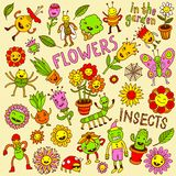 Flowers and insects. Doodle set Royalty Free Stock Image