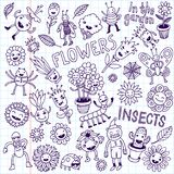 Flowers and insects. Doodle set. School Notebook. Royalty Free Stock Images