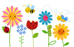 Flowers and insects. Illustration of flowers and insects Royalty Free Stock Images