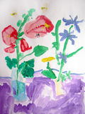 Flowers and insects - painted by child Stock Image