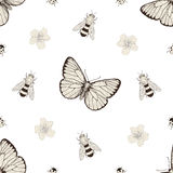 Flowers and insects seamless pattern Royalty Free Stock Images