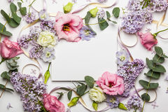 Flowers and invitation card Stock Photography