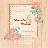 Flowers invitational wedding card. Wedding invitation card vector illustration. Flower invitational card design for weddings, celebrations and holydays Royalty Free Stock Images