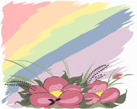 Flowers and rainbow. Flowers on an iridescent background Stock Photography