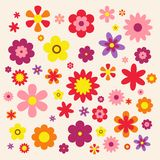 Flowers isolated on pink background. Set of colorful floral icons. Vintage Flowers flat dasing style Vector Illustration Royalty Free Stock Photos