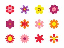 Flowers isolated on white background. Set of colorful floral icons. Flowers in flat dasing style. Vector Illustration Royalty Free Stock Image