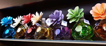 Flowers in jars with fragrant oils. On dark Royalty Free Stock Photos