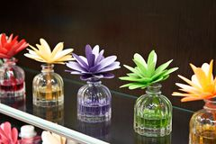 Flowers in jars with fragrant oils. On dark Stock Photos