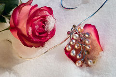 Flowers and jeweller Royalty Free Stock Photos