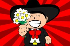 Flowers kid mexican mariachi cartoon expressions background Royalty Free Stock Image