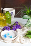 Flowers on the lace napkin Stock Photography