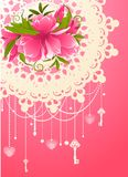 Flowers with lace ornaments Stock Photo