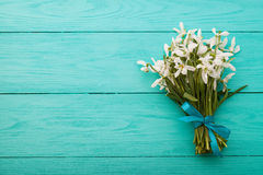 Flowers and lace ribbon on blue wooden background Royalty Free Stock Photos