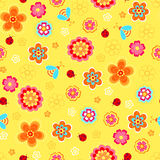 Flowers and Ladybugs Seamless Repeat Pattern. Flowers, Ladybugs, and Bees Seamless Repeat Pattern Vector Illustration Background Stock Photos
