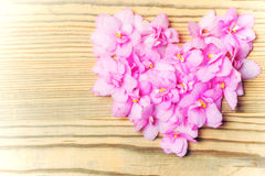 Flowers laid in the form of heart on wooden background Royalty Free Stock Images