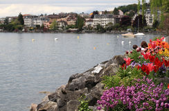 Flowers and Lake Geneva, Montreux, Switzerland. Stock Photo