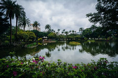 Flowers and lake at Zhongshan Park, in the Xinyi District, Taipe Stock Photo
