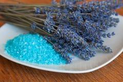 Flowers lavender and bath salt Stock Photos
